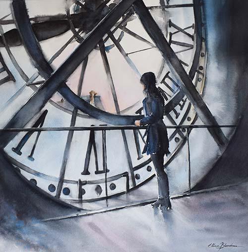 Le temps d'un instant, une aquarelle d'Eléna Blondeau, artiste cotée Drouot.