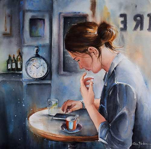 Au café littéraire, une aquarelle d'Eléna Blondeau, peintre-aquarelliste en Alsace, France.