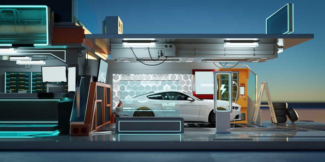 Station futuriste de chargement d'une voiture électrique.